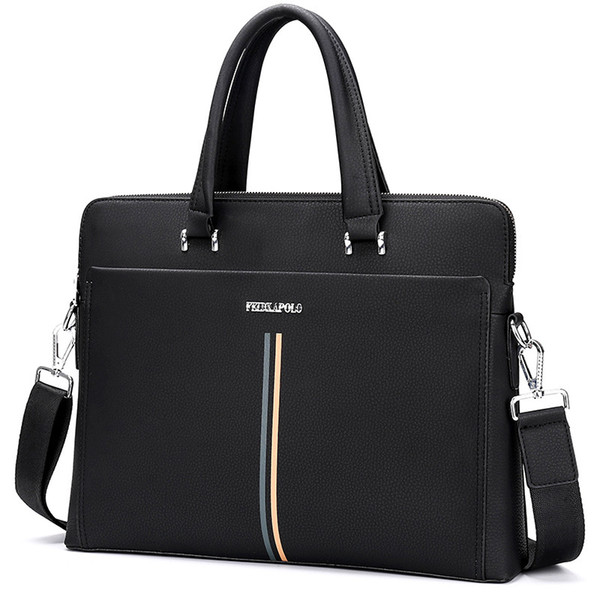 New Year 2 Color New leather Men's Business Bag Briefcase Leather Shoulder Messenger Computer bag Horizontal Section Vertical Section