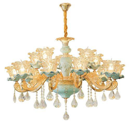 New European ceramic chandelier atmospheric luxury living room crystal light romantic warm bedroom restaurant lighting low floor home lamps