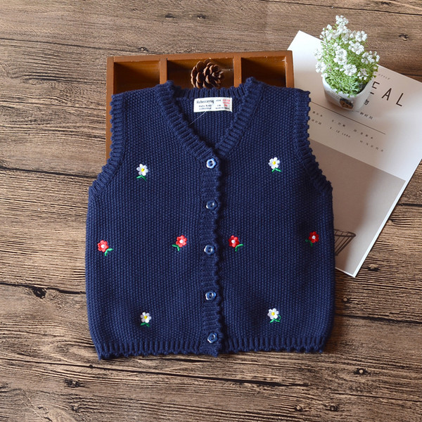 3a0df9bc7 Navy Blue Baby Girls Sweater Vest Single Breasted Waistcoat Girls ...