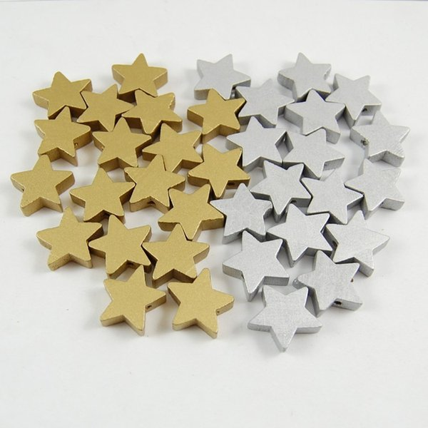 NY932 Handmade Beads Gold &Silver Color 20MM Star Shape Wood Beads for Making Wooden Beads Teething DIY Pacifier Clip Bois Attache Sucette