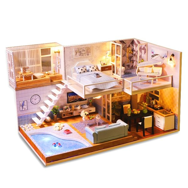 New Doll House DIY Miniature Assemble Dollhouse Model Wooden Furnitures Kit Dolls Miniaturas Houses Toys For Christmas Gifts