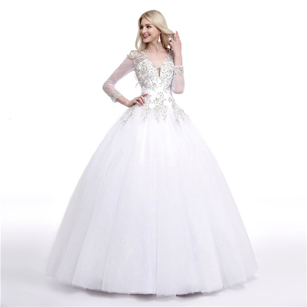 Stunning Ball Gown Wedding Dresses Illusion Long Sleeves Sheer with Beading Sequins Open Back Plus Size Wedding Dresses