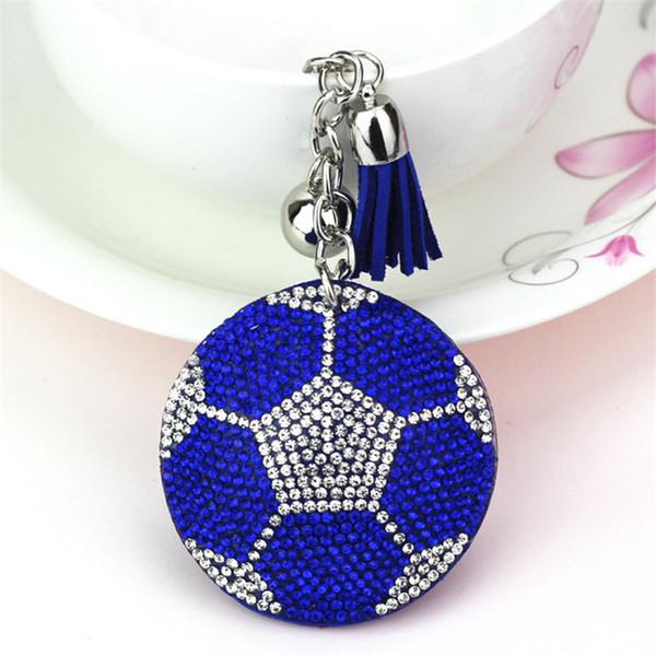 Cute Keychain Full Crystal Keyring Car Key Chain Women Key Holder Ring Bague Football Wholesale Jewelry Gifts 6C2380