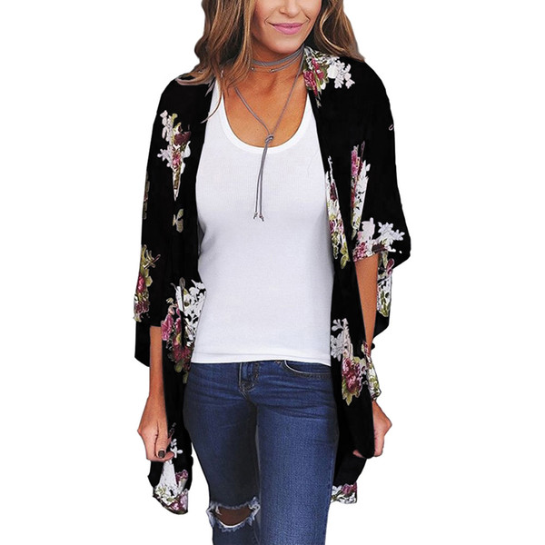 Sexy Women Floral Print Kimino Cardigan Open Front Maxi Sun-proof Summer Blouse Flare Sleeve Summer Boho Long Outwear Black/Grey