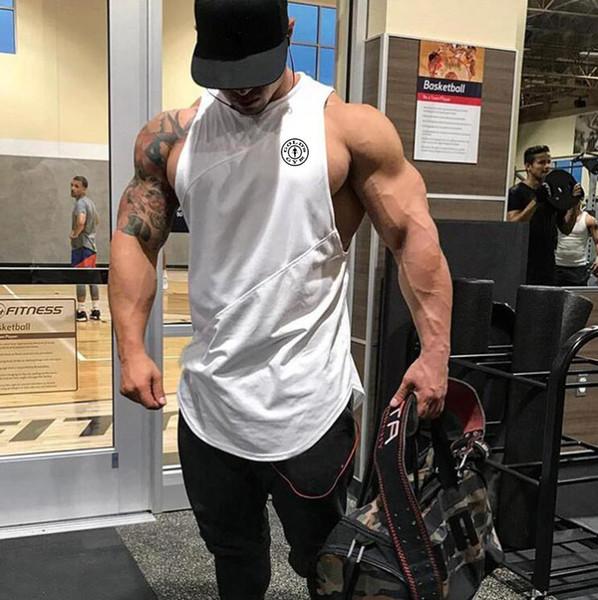 Marca de Ginásios Roupas de Fitness Homens Regatas com encapuçado Homens Bodybuilding Stringers Regatas treino Singlet Camisa Sem Mangas