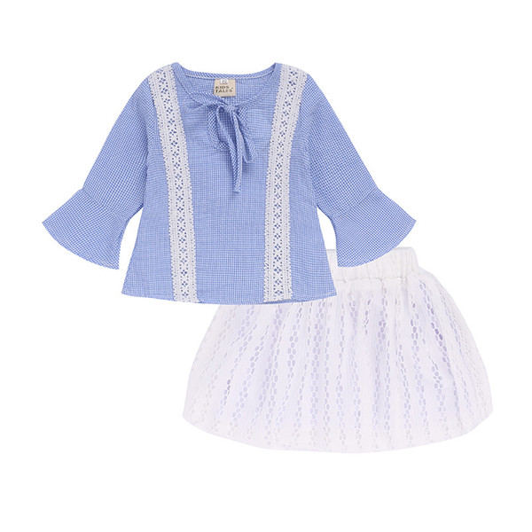Toddler Baby Girls Clothing Set Lace T Shirt Tops +Tutu Dress Hollow Kids Clothes set Outfits