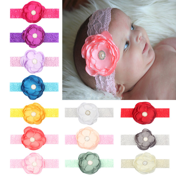 Newborn Flower Lace Headband Baby Hair accessories Elastic Soft Pearl rhinestone 13 Colors Cheap Wholesale 2018