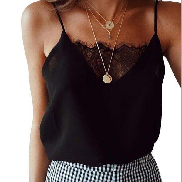 New Sexy White Black Sheer Lace Camis Women V neck Strap Silk Slip Tank Top femme feminino Top Tees