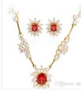 wonderful diamond crystal flower wedding set necklace earings fdgd
