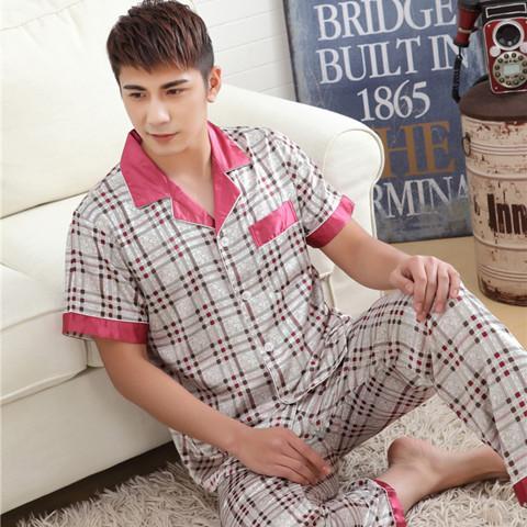 Primavera Verão Outono Homens de Cetim De Seda Pijamas Conjuntos de Sleepshirt Calças Adulto Nightwear Homem Casa Casual Roupas Plus Size 3XL