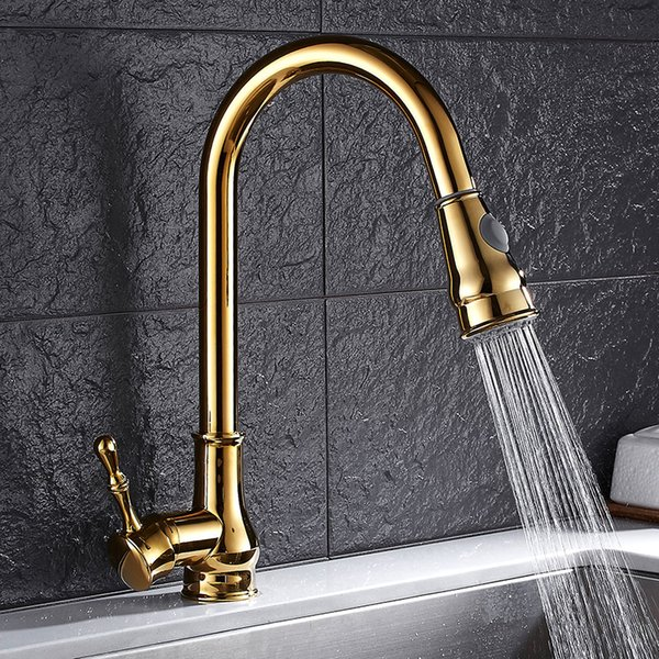 Newly Arrived Pull Out Kitchen Faucet Gold/Chrome/nickel/black Sink Mixer Tap 360 degree rotation kitchen mixer taps Tap