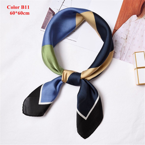 New Style Fashion Summer 50*50cm Women Small Vintage Square Silk Feel Satin Scarf Skinny EleHead Neck Hair Tie Band