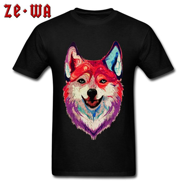 Happy Husky Mens T Shirt Vintage Graphic Design T-shirts Short Sleeve Customized Top Tshirts All Cotton Clothes VALENTINE DAY