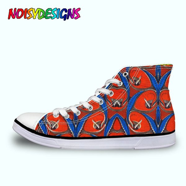 African Style Print High Top Canvas Shoes WoWomen Classic Lace-up Vulcanize Shoes WoWomen's Leisure Flat High-top Sneakers