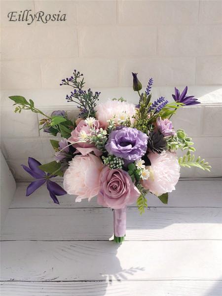 Сиреневый Лавандовый Фиолетовый Свадебный Букет для Кантри Свадебные Цветы Буке