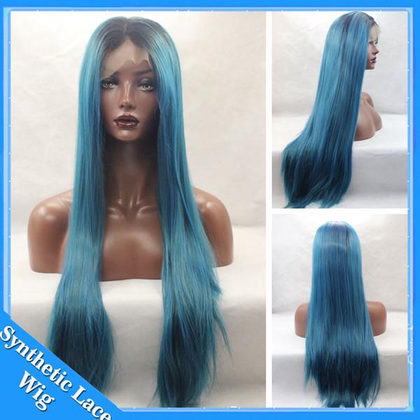 Silky Straight Ombre Noir à Bleu foncé Vert Perruque Synthétique Lace Front Perruques Perruque Naturelle Deux Tons Fibres Naturelles Résistantes à la Chaleur