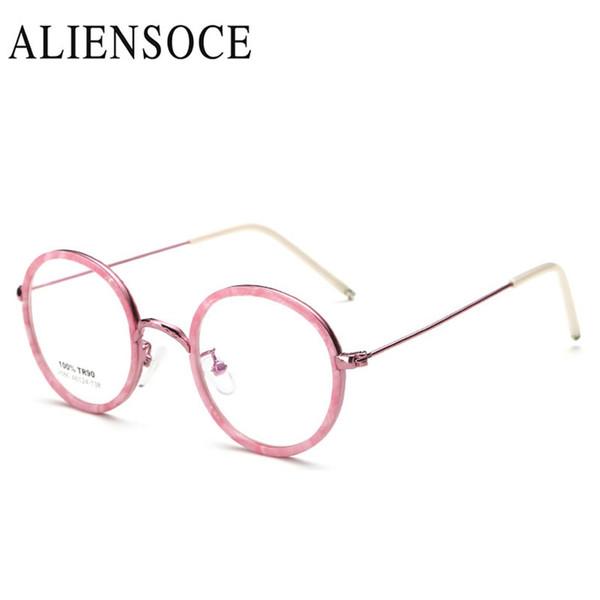 ebf1b0069 ALIENSOCE Novas Mulheres Dos Homens de Alta Qualidade Retro Rodada Armações  de Óculos De Metal Miopia