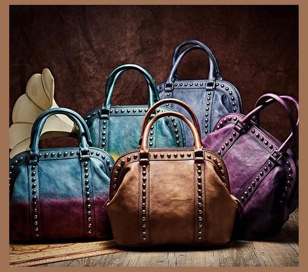 Casual Fourre-tout Shell Sac à main Mesdames Rivet Épaule Vintage Street Style femmes en cuir véritable Crossbody Messenger Bag
