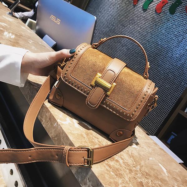 Matting Woman handbags2018 New Pattern Rivet Case Package Insert Lock Luxury Brand Lady Leather Handbags