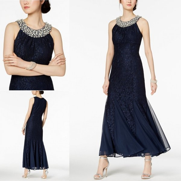 Mother Of The Bride Dresses Beaded Pearls Sequins Tea Length Lace Tiered Sleeveless Mother's Dress Prom Gowns Plus Size