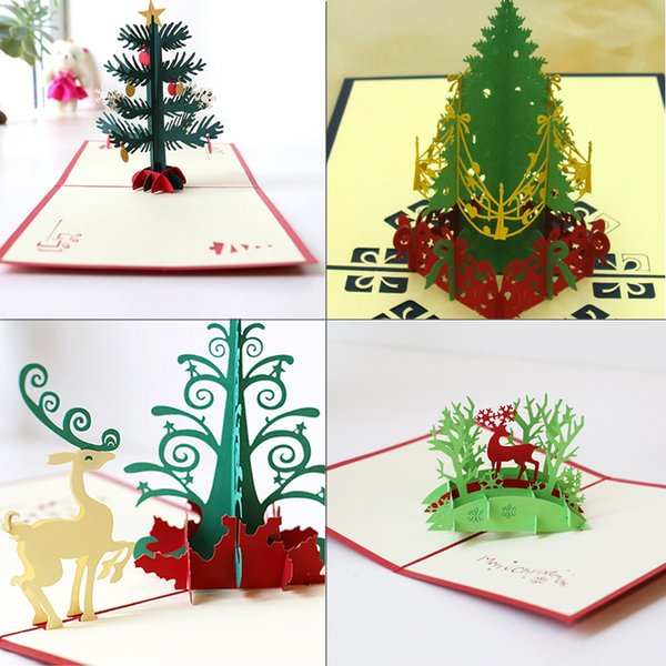 New Handmade Christmas Cards Creative Kirigami & Origami 3D Pop UP Greeting Card with Christmas Tree Desgin Postcards for Kids Friends