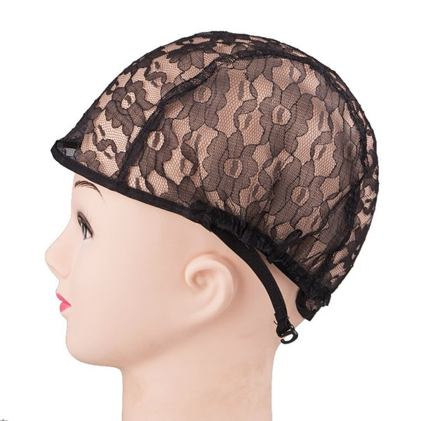 10pcs Lot Medium Size High Quality Black Wig Caps For Making Weaving Wigs With Adjustable Stretch Net Strap On Black Hairnets