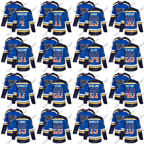 Youth 2018 USA Flag St. Louis Blues Vladimir Tarasenko Brayden Schenn Pietrangelo Allen Berglund Steen Schwartz Hutton Hockey Jerseys