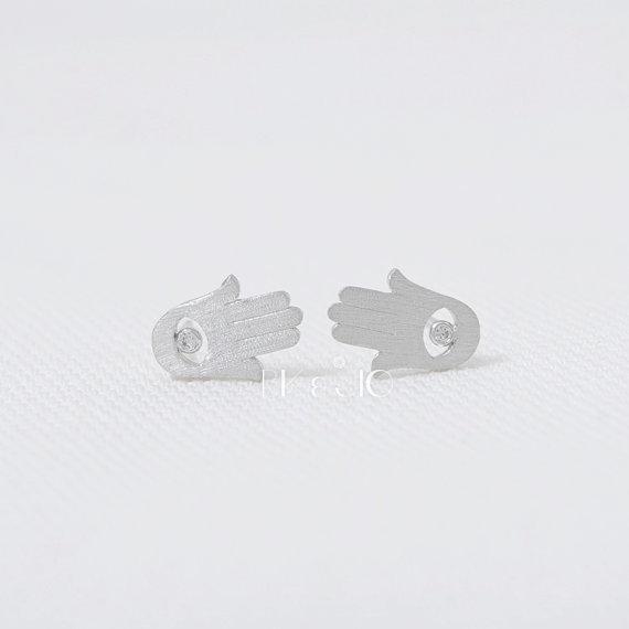 Earrings Clear CZ Forever Love & Palm Hamsa Stud Earrings For Women Fashion Jewelry Gift jl-154