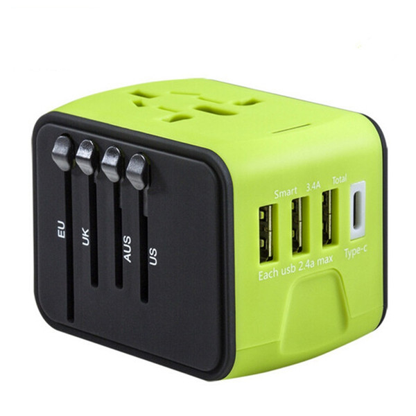 Universal All-in-one USB Travel Adapter Power with 3-port USB 1 Type C portable Charger Wall Outlet Plugs business travel