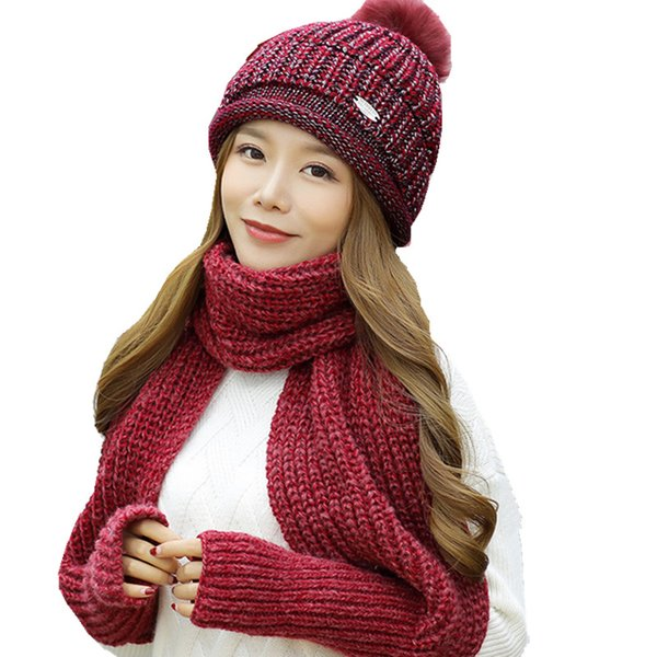 With glove long scarf +warm wool ball hat two pc sets for girls over 10 years women fashion knitting beanie collar adult caps