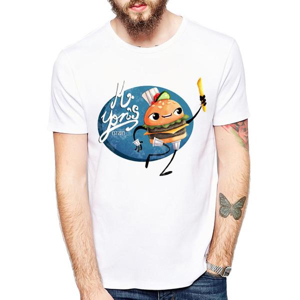 T-shirts de Hamburgo Personalidade do Homem Engraçado Estilo Verão Camiseta Bonito Dos Desenhos Animados Melhores Amigos Série Camisetas