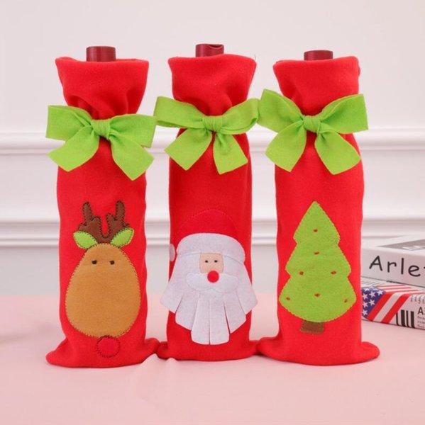 Noel Papyon Tarzı Kırmızı Şarap Çantaları Bar Kulübü Bira Şampanya Şişesi İpli Çanta Süslemeleri Noel Baba Geyik Ağacı Tasarım