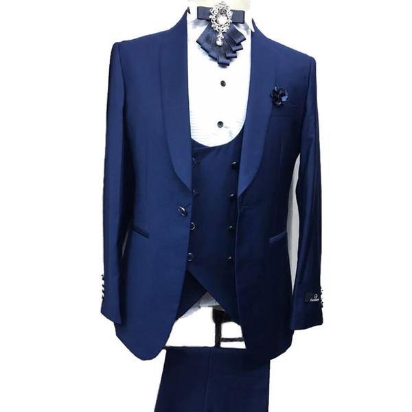 Navy Blue Men Suits for Wedding Custom Made Bridegroom Suits Slim Fit Grey Groom Tuxedos Groomsmen Wear 3 Piece Shawl Lapel One Button