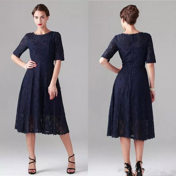 Dark Navy Lace Mother Of The Bride Dresses Tea Length Vintage Cocktail Party Gowns with Short Half Sleeves Plus Size Wedding Guest Dress