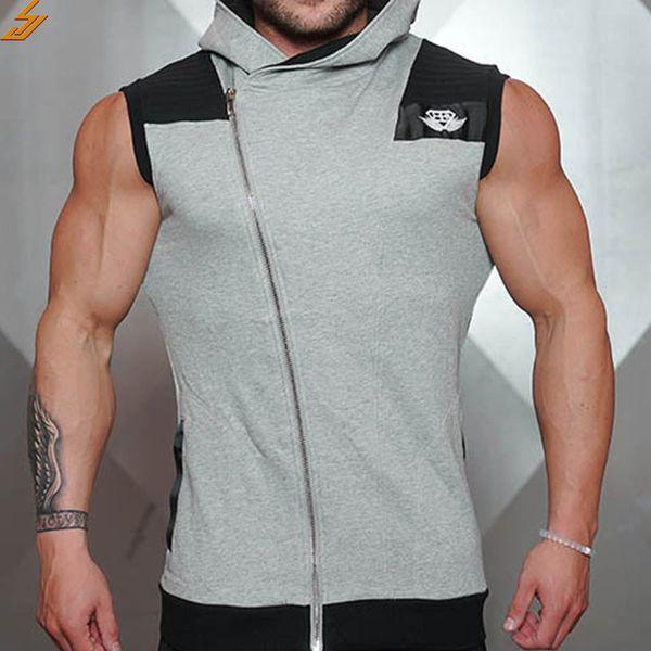 SJ 2017 High quality Men Hoodie Hrand Inclined zipper Fashion Cotton Clothing