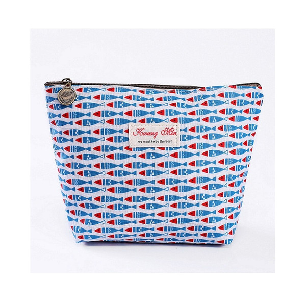 2018 Women Clutch Make Up Bag Toiletry Cosmetic Bag Cotton Stuff Organizer Zipper Pouch Fish Pattern Cosmetic Case Dropshipping
