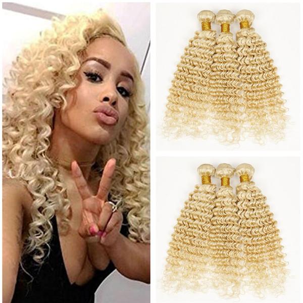 Platinum Blonde 9A Deep Wave Wavy Blonde Hair Weaves Unprocessed Blonde #613 Brazilian Human Hair Weft Extensions 3 Bundles Free Shipping