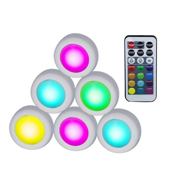 Sem fio Luzes LED Puck RGB 12 Cores Pode Ser Escurecido Sensor de Toque sob o Gabinete Luz Para Fechar Wardrobe Stair Corredor Da Noite lâmpada