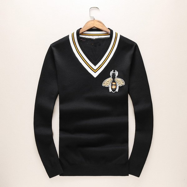 best selling New 2018 Man Luxury Winter Gentleman Embroidery Bees Knit Casual Sweaters Pullover Asian Plug Size High quality Drake Plus Size M-3XL Hot