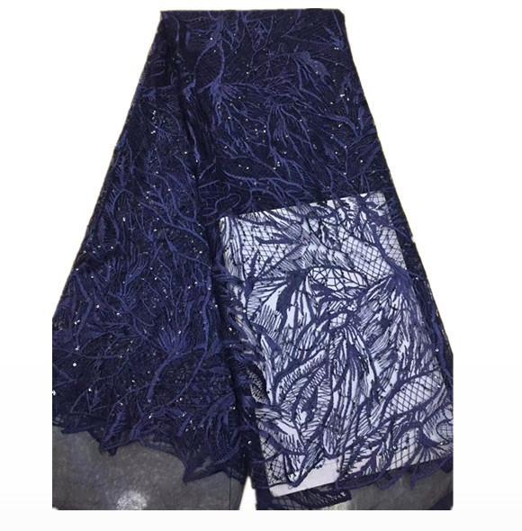 EPT1109 Populäre Kaufen High Class Elegant Marineblau Pailletten Blume African Französisch Spitze, Breathable Tüll Spitze Stoff