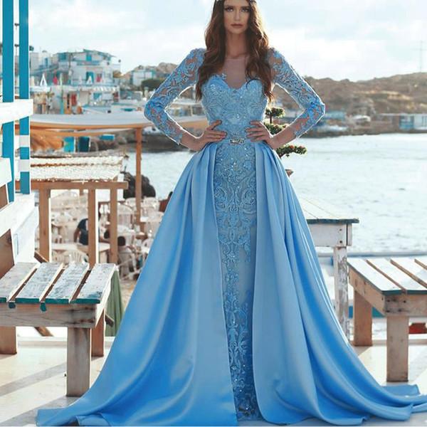 Abiti da sera blu vintage a sirena con abito da celebrità in pizzo staccabile con scollo a cuore gioiello collo maniche lunghe abito da sera in peplo di raso