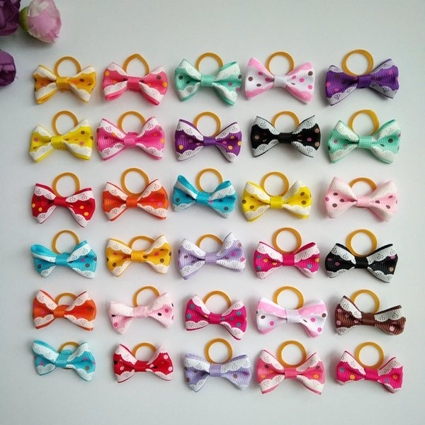 100pcs/lot Cute New Dog Hair Bows Topknot Mix Styles Dog Bows Pet Grooming Products Mix Colors Pet Hair Bows Topknot Rubber Bands