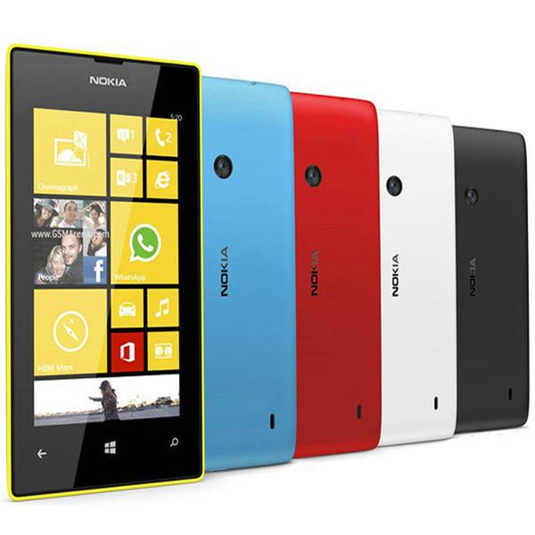 Refurbished Original Nokia Lumia 520 Window Phone 4.0 inch Dual Core 8GB 5MP Camera WIFI GPS 3G Unlocked Mobile Cell Phone Free DHL 5pcs