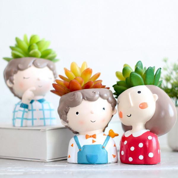 Suculenta Planta Pote Bonito Menina Menino Mini Design Criativo Plantadores Pequenos Bonsai Casa Decoração Do Jardim