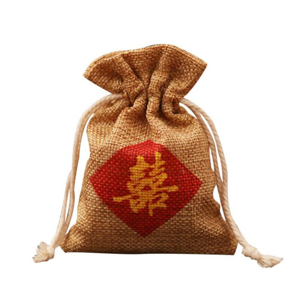 """Burlap Favor Bag"""" Double Happiness """" Chinese Words Printing Wedding Marriage Party Candy Gift Bag Free Shipping ZA6937"""