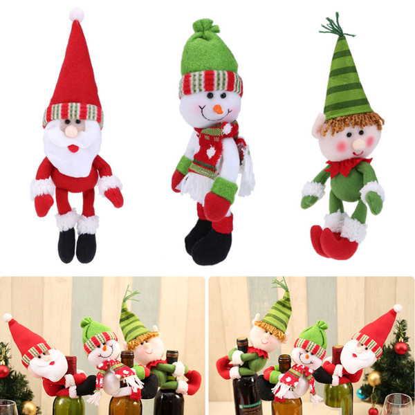 Santa Claus Wine Bottle Cover Snowman/Elf Doll Dinner Table Decoration Bottle Holder Christmas Decorations for Home New Year's Y18102609