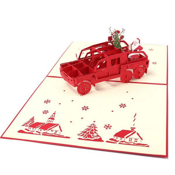Hot sale New Laser Cut Invitations 3D Santa Claus Christmas Cards Handmade Custom Postcard Greeting Cards