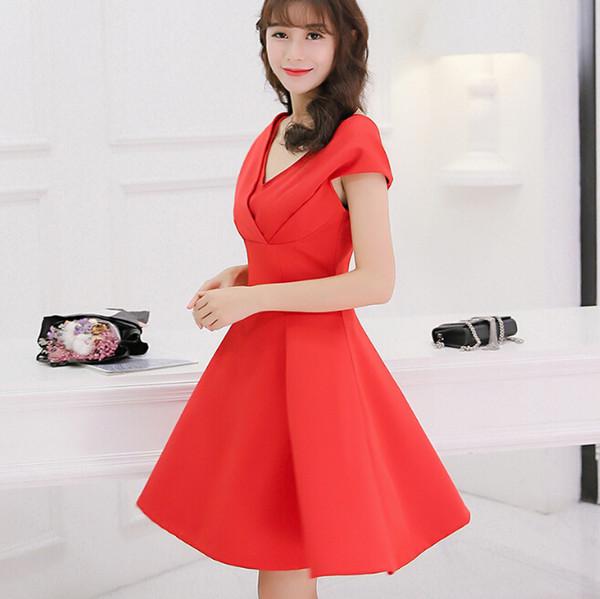 Korean Summer dress women clothing cute slim show thin bodycon dress fashion patchwork short sleeve black red dress Vestidos