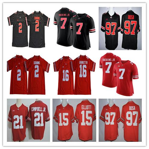 2018 Ohio State Buckeyes 2 JK Dobbins 7 Dwayne Haskins Jr. 97 Bosa 16  Barrett IV 15 Elliott White Red Black Camo College Football Jerseys 064496da6