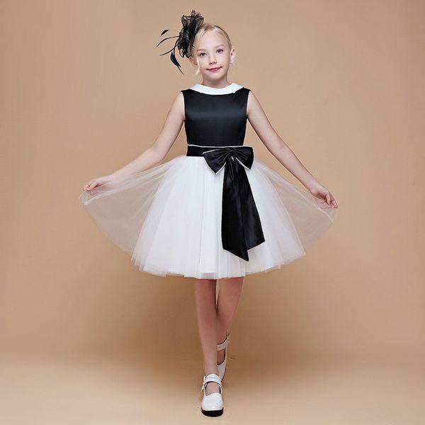Bianco e nero Little Queen Ginocchio Lunghezza bambino Vestito da festa Designer professionista Abito da ragazza con cravatta
